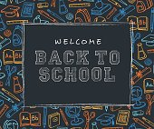 Back to School Background with line art icons - Illustration