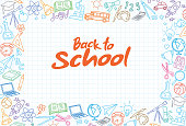 istock Back to School Background with line art icons 1299844591