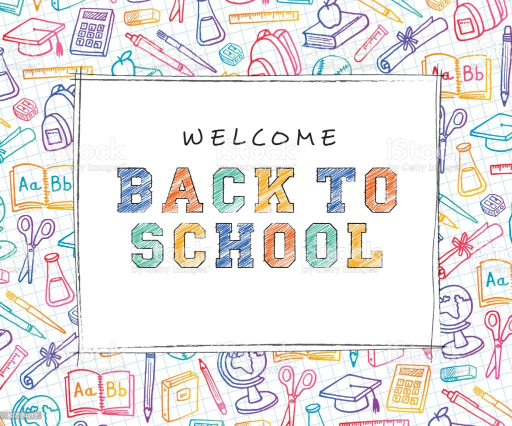 Back to School Background with line art icons vector art illustration