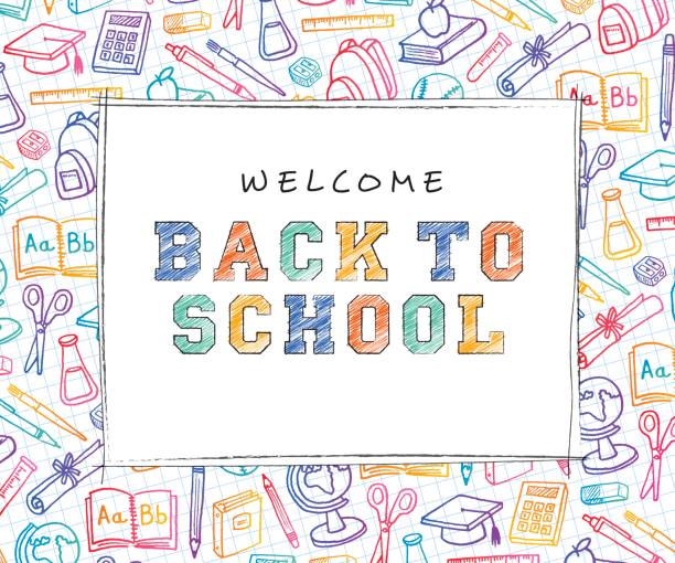 back to school background with line art icons - school stock illustrations