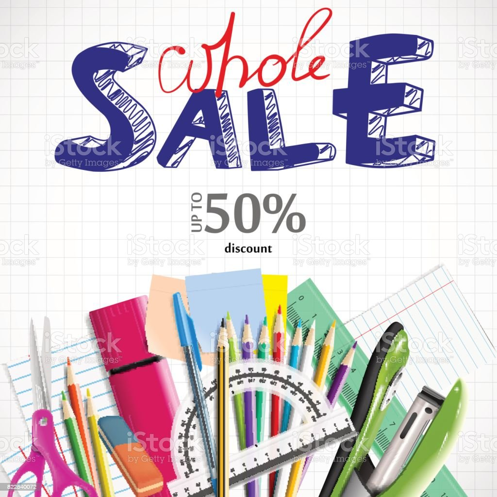 Back To School Background With School Supplies Wholesale Ad Vector