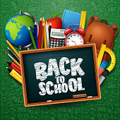 Vector illustration of Back to school background with stationery and school supplies