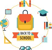 Back to school background with study theme icons
