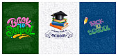 Back to school backgrounds set with color emblems consisting of calligraphy lettering, stack of books, magisters cap, pencil. Pattern with different school supplies on backdrop. Vector illustration.