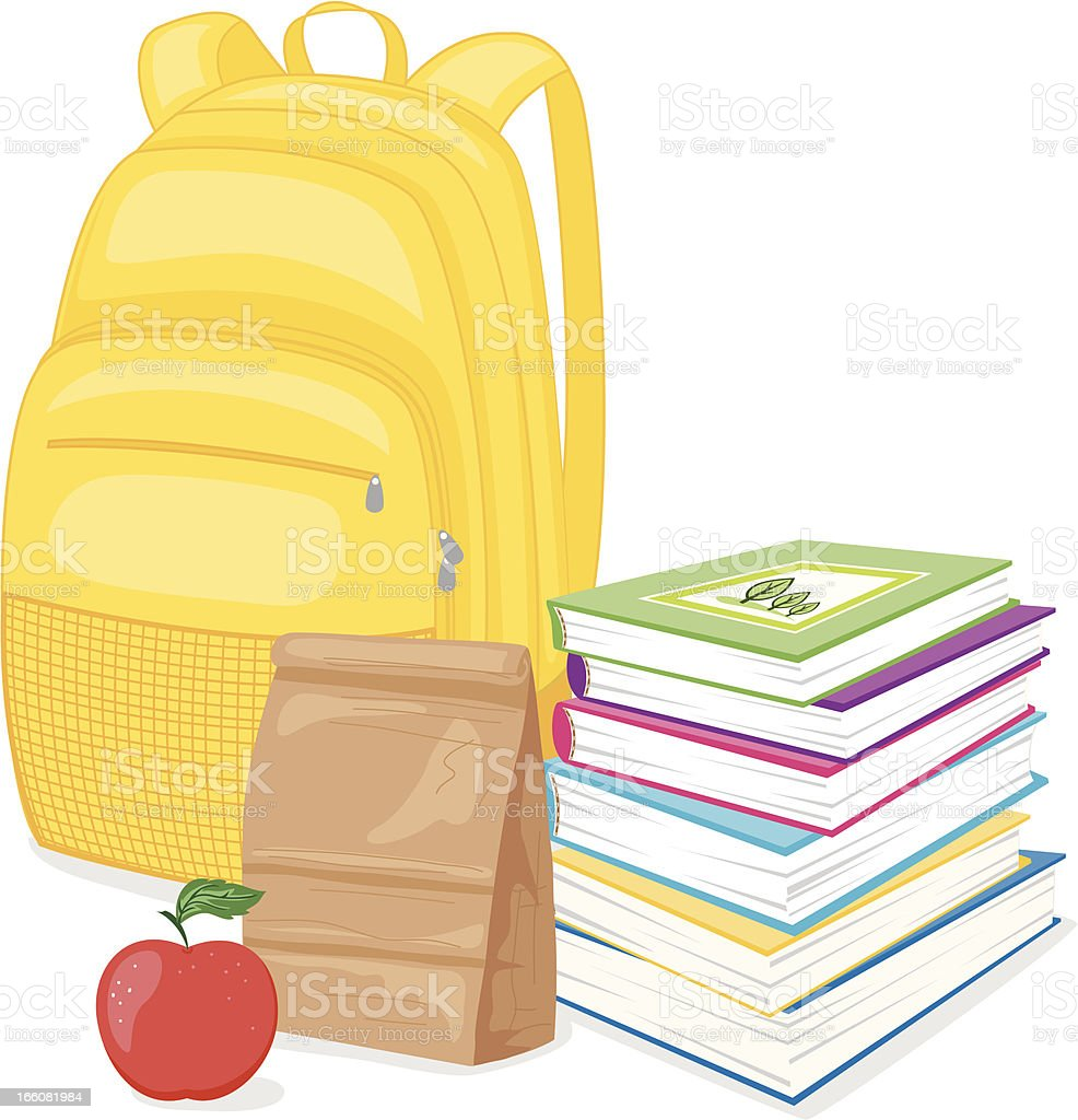 Back To School Backpack, Books and Lunch vector art illustration