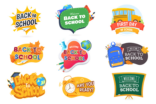 Back to school badge collection. Beginning the new school year banners set in different styles. Isolated on white. Design element for promotion, marketing. Vector illustration.
