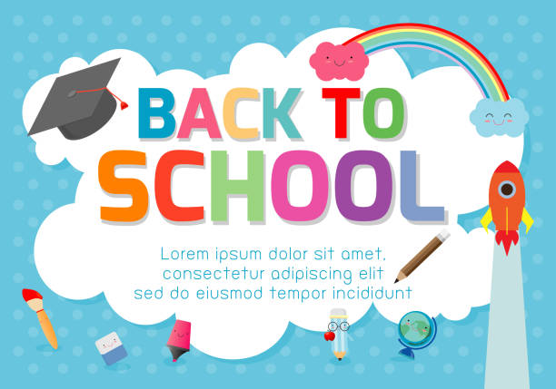 back to school banner background.welcome back to school ,cute school kids.education concept, template for advertising brochure, your text ,vector illustration - przedszkole stock illustrations