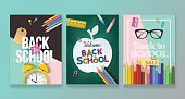 Back to school banner design set with lettering and school supplies. Realistic vector illustration