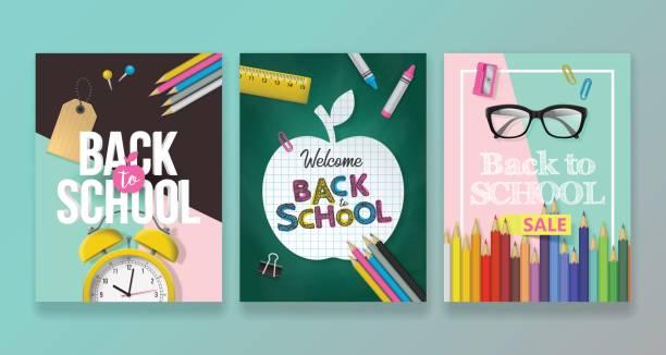 back to school banner design set - back to school stock illustrations, clip art, cartoons, & icons