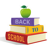 Back to school banner design with stack of book and apple on top. Stock illustration