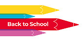 Back to school banner design with many education theme icons. Stock illustration