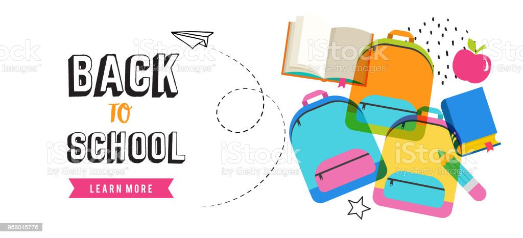 Back to school banner design vector art illustration