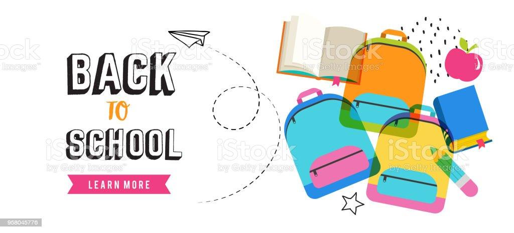 De vuelta a la escuela banner diseño - ilustración de arte vectorial