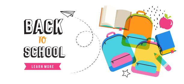 back to school banner design - back to school stock illustrations, clip art, cartoons, & icons