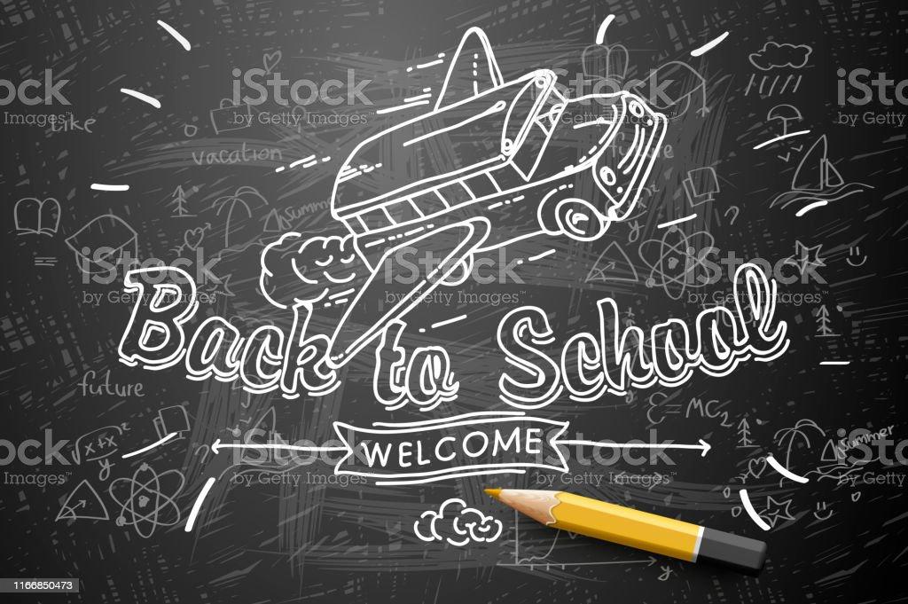 back to school banner doodle on chalkboard background