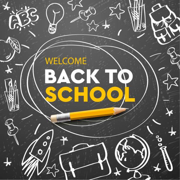 illustrations, cliparts, dessins animés et icônes de drapeau de retour à l'école, griffonnage sur le fond de tableau, illustration de vecteur. - reprise des cours