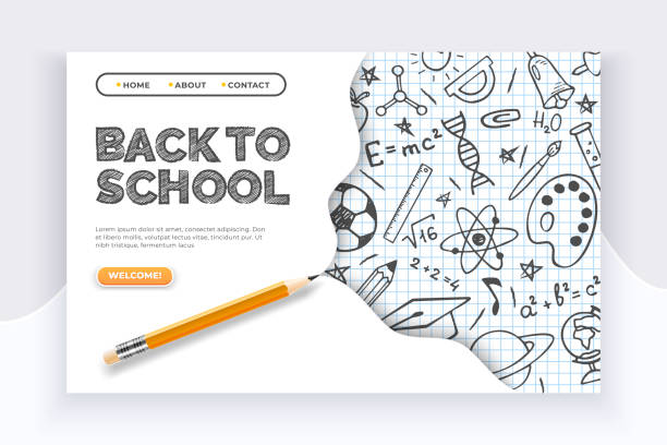 Back to school banner. Hand drawn educational supplies on list sheet and a pencil. Back to school education concept Back to school banner. Hand drawn educational supplies on list sheet and a pencil. Back to school education vector concept back to school stock illustrations
