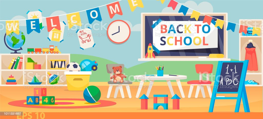 Back To School Banner Illustration. First School Day, Knowledge Day,  September 1.