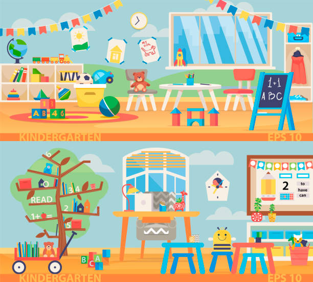 back to school banner illustration. kindergarten education interior. preschool classroom with desk, chairs and toys. . - przedszkole stock illustrations