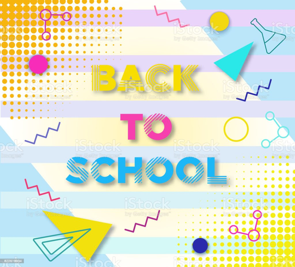 Back To School Banner In Trendy 90s Geometric Style With
