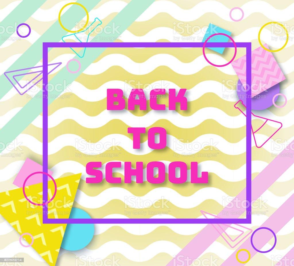 Zurück Zu Schule Banner Im Trend Der 90er Jahre Geometrischen Stil Mit  Linien Und Dreiecke