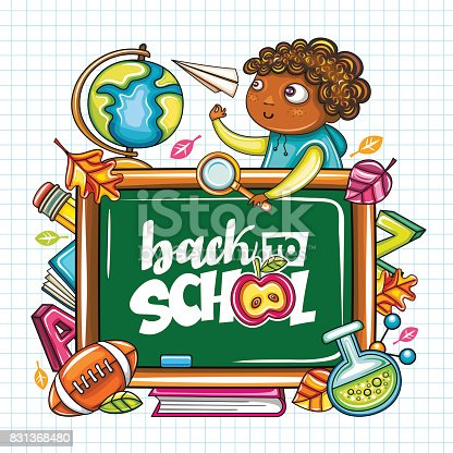 Back To School Banner Or Frame Education Series Stock Vector Art ...