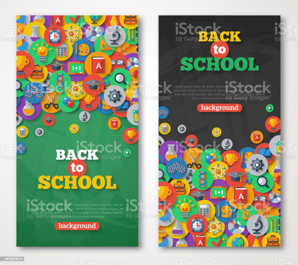 Back To School Banner Set With Flat Icons on Circles. vector art illustration