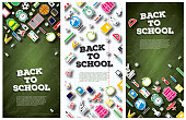 Back To School Banner Set with School Supplies. Vector Illustrat