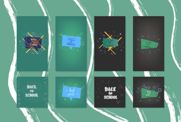 Zurück zu Schule-Banner-Vorlagen für social Media. Vektor-Illustration. – Vektorgrafik