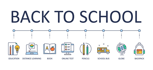 Back to school banner. Vector editable stroke icons. Education online test school bus globe. Distance learning book pencils