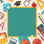 Back to School Sale Banner - Vector Illustration