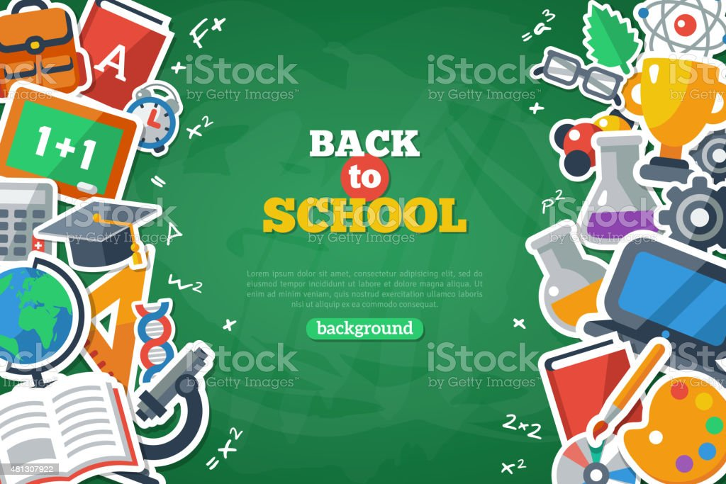 Back To School Banner With Flat Icon Set vector art illustration