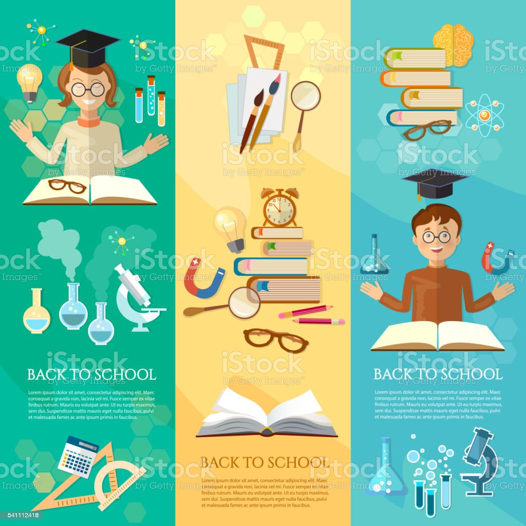 Back to school banners education students in the class vector art illustration