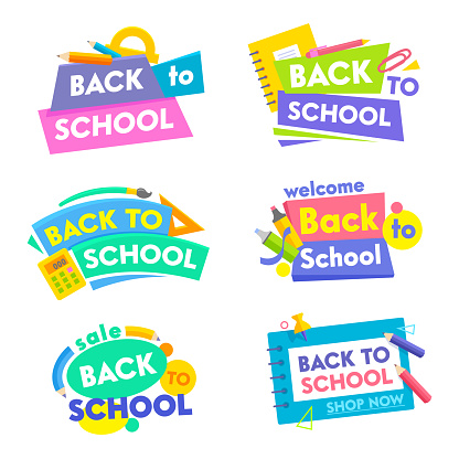 Back to School Banners Set. Colorful Tags Icons or Stickers with Title and Elements Typography and Studying Supplies. Poster for Retail Marketing Promotion Education Ad. Cartoon Vector Illustration