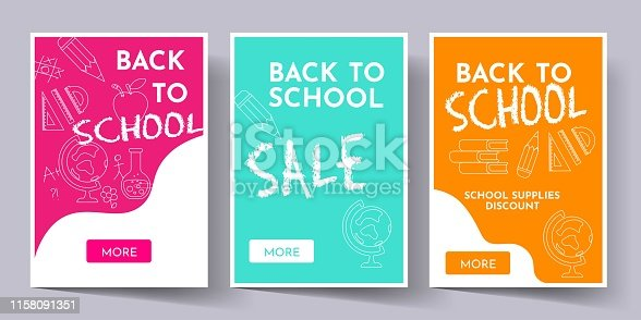 Set of web banners with school supplies on doddle background. Back to school.