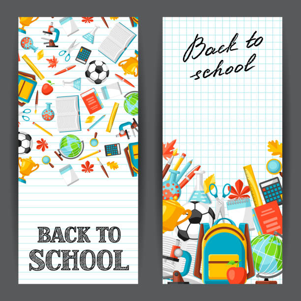 Back to school banners with education items vector art illustration
