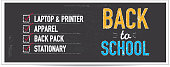 Vector illustration of a Back to School themed banner design template. Single horizontal banner design. Hand drawn elements. Includes sample text designs 'Back to School sale', 'Save Big', pencil, and chalkboard background with texture. Green, blue, orange and red color palette. Separate layers in Illustrator file for easy editing and customization.