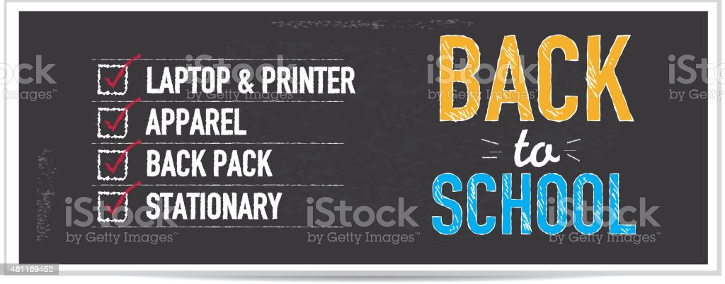 Back to school bargains shopping list chalkboard design banner vector art illustration