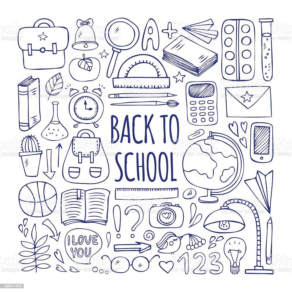 Retour à l'école Ensemble big et crayonnages retour à lécole ensemble big et crayonnages – cliparts vectoriels et plus d'images de appareil photo libre de droits