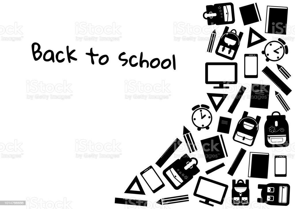 Fondo Utiles Escolares Vector: Ilustración De Regreso A La Escuela Fondo Blanco Y Negro