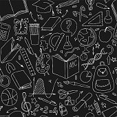 Back to school black and white doodle hand draw seamless vector pattern. Good for textile fabric design, wrapping paper and website wallpapers.