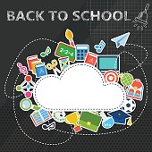 School background flat vector cartoon illustration. Education concept, back to school with supplies icons. Objects isolated on a black background.