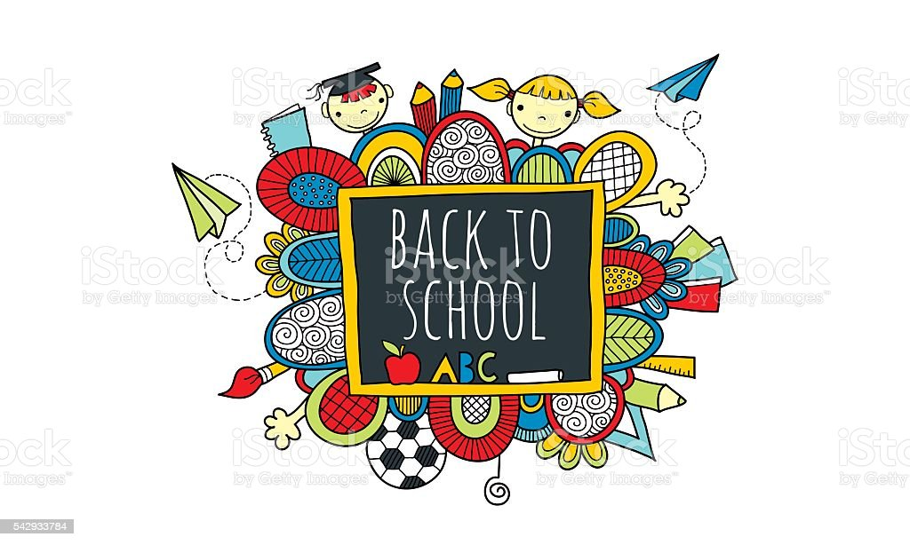 Back to School Blackboard Hand Drawn Doodle Vector Bright vector art illustration