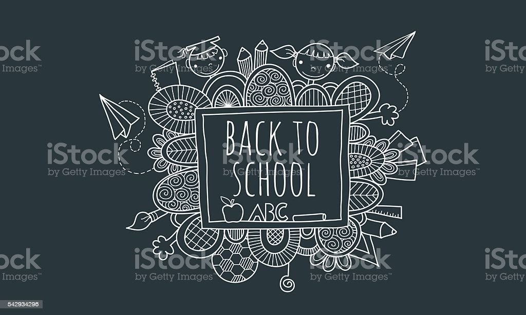 Back to School Blackboard Hand Drawn Doodle Vector vector art illustration