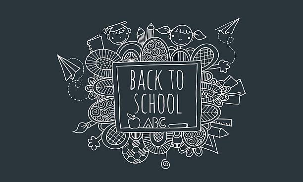 Zurück in der Schule Doodles Vektor-Tafel handgezeichnet – Vektorgrafik