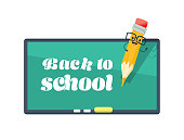 Back to school blackboard with character funny smile pencil vector illustration