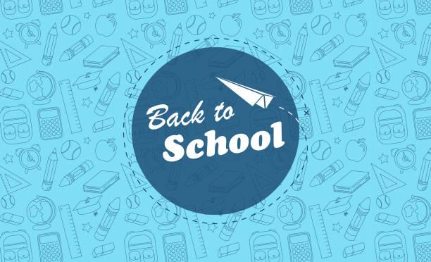 illustrazioni stock, clip art, cartoni animati e icone di tendenza di torna alle icone di sfondo blu della scuola - scuola