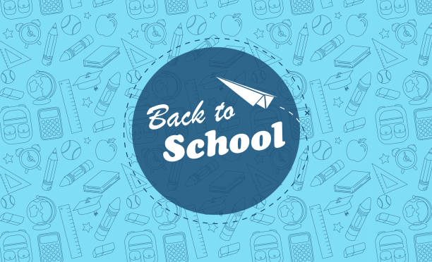 back to school blue background icons - przedszkole stock illustrations