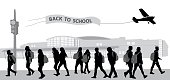 Silhouette vector illustration of teenagers going back to middle school with back to school banner flying above their heads