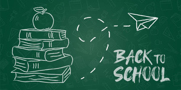 Back to school board banner chalk books and apple Back to school banner illustration of chalk hand drawn books and apple on chalkboard background for education concept. back to school stock illustrations